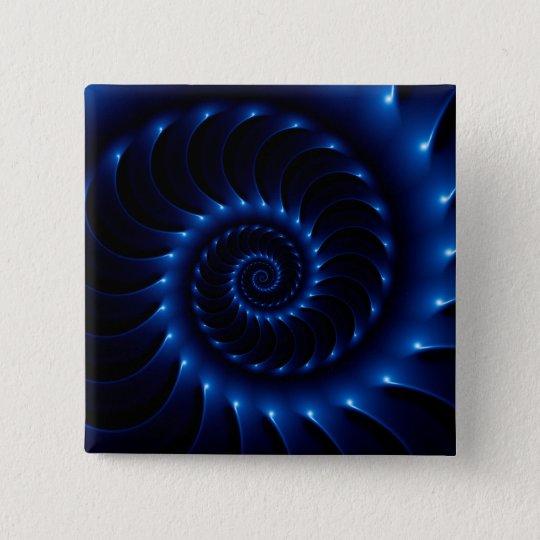 Glatter blauer gewundener Fraktal-Knopf Quadratischer Button 5,1 Cm