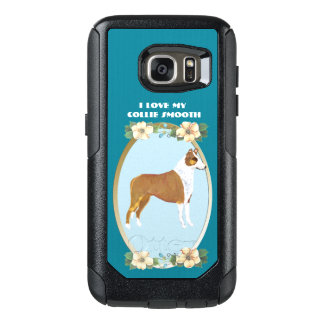 Glatter Collie auf aquamarinem Blumen OtterBox Samsung Galaxy S7 Hülle