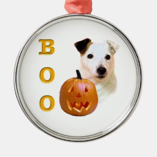 Glatter Mantel-Pastor-Russell Terrier Halloween Rundes Silberfarbenes Ornament