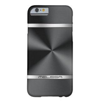 Glatter schwarzer metallischer Druck-Silber-Akzent Barely There iPhone 6 Hülle