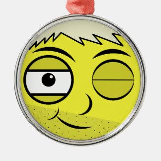 Glattes Gesicht Silbernes Ornament