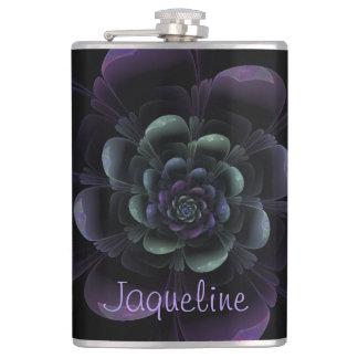 Glattes schwarzes lila aquamarines Blumen Flachmann