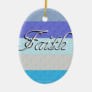 Glaube auf Blau Ovales Keramik Ornament