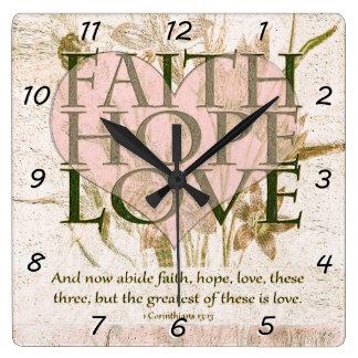Glaube, Hoffnung und Liebe Quadratische Wanduhr