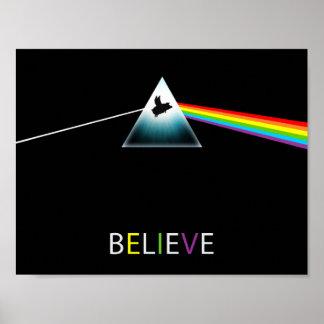 Glauben-Fliegen Schwein-Prisma Poster