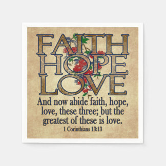 Glauben-Hoffnungs-Liebe-eleganter BibelScripture Papierserviette