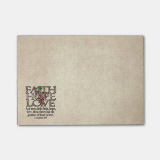 Glauben-Hoffnungs-Liebe-eleganter BibelScripture Post-it Klebezettel