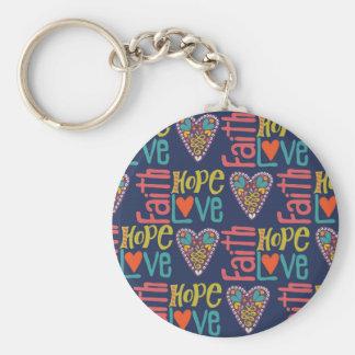 Glauben-Hoffnungs-und Liebe-Wort-Kunst Schlüsselanhänger