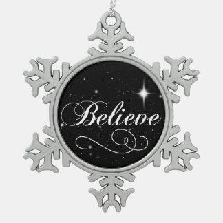 Glauben Sie an die Jahreszeit Schneeflocken Zinn-Ornament