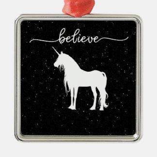 Glauben Sie an Einhorn-Entwurfs-sternenklaren Silbernes Ornament
