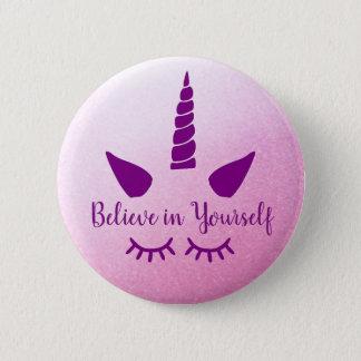 Glauben Sie an selbst rosa lila Unicorn-Abzeichen Runder Button 5,1 Cm