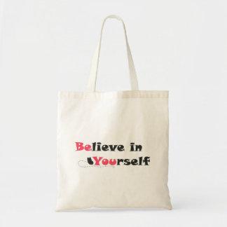 Glauben Sie an selbst Zitat-Taschen-Tasche Budget Stoffbeutel