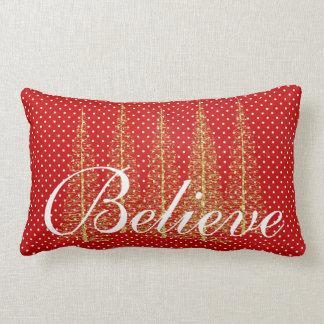 Glauben Sie auf Rot-Punkt-Weihnachtslumbalem Lendenkissen