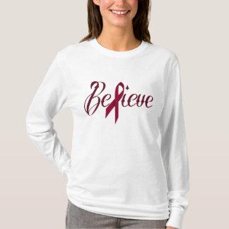 Glauben Sie Burgunder-Bewusstseins-Band-Shirt T-Shirt
