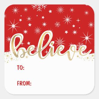 Glauben Sie Weihnachtsrotem handgeschriebenem Quadratischer Aufkleber