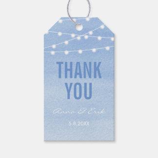 Glaucous blaues Aquarell Stringlights danken Ihnen Geschenkanhänger