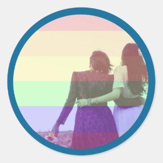 Gleichheits-Foto-Aufkleber mit Grenze Runder Aufkleber