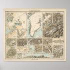 Gletscherkarte - Gletscher-Atlas-Karte Poster