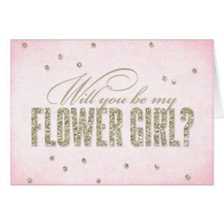 Glitter-Blick sind Sie mein Blumen-Mädchen? Karte
