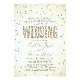 Glitter-Blickconfetti-Hochzeits-Einladung 12,7 X 17,8 Cm Einladungskarte