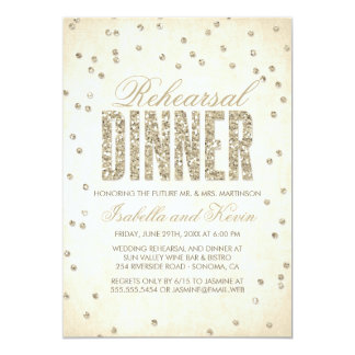 Glitter-Blickconfetti-Proben-Abendessen-Einladung 12,7 X 17,8 Cm Einladungskarte