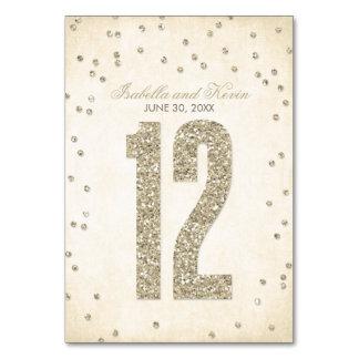 Glitter-Blickconfetti-Wedding Tischnummern - 12