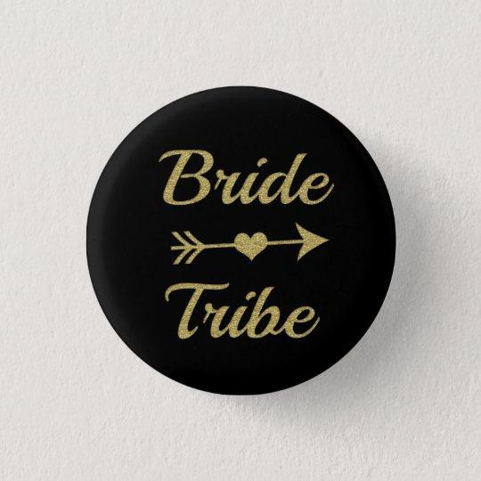 Glitter der Braut-Stamm-Brautjungfernfrauen Gold Runder Button 3,2 Cm
