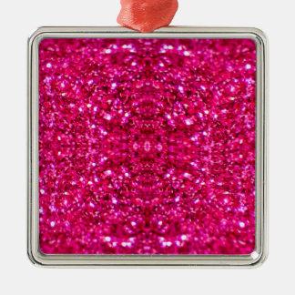 Glitter des heißen Rosas Quadratisches Silberfarbenes Ornament