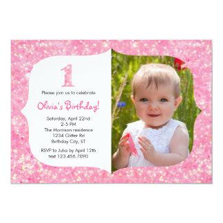Glitter-erste Geburtstags-Einladung 12,7 X 17,8 Cm Einladungskarte