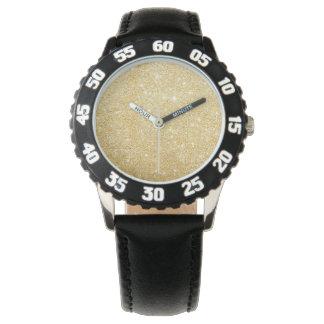 Glitter-glänzendes Luxusgoldenes Armbanduhr