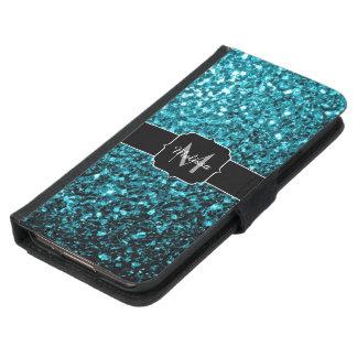 Glitter-Glitzern Monogramm des schönen Aqua blaues Samsung Galaxy S5 Geldbeutel Hülle