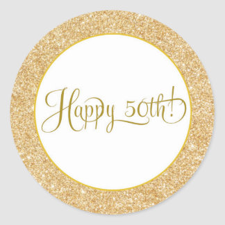 Glitter Gold Happy 50 Birthday Anniversary Label Runder Aufkleber