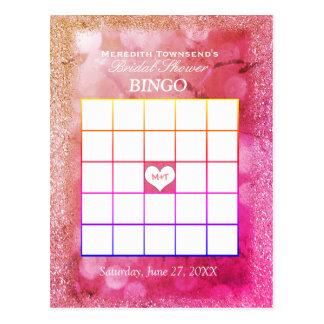 Glitter-Lichter der Bingo-Karten-|Rose Postkarte