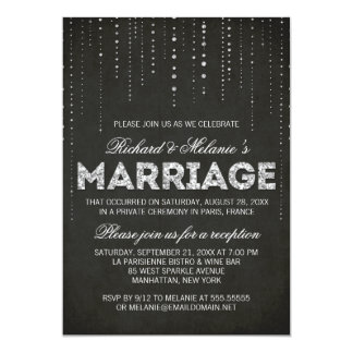 "Glitter Look Wedding Reception Only Invitation 5"" X 7"" Invitation Card"