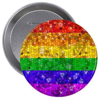 Glitter-Regenbogen-Flaggen-Heirat-Gleichheits-Gay Runder Button 10,2 Cm