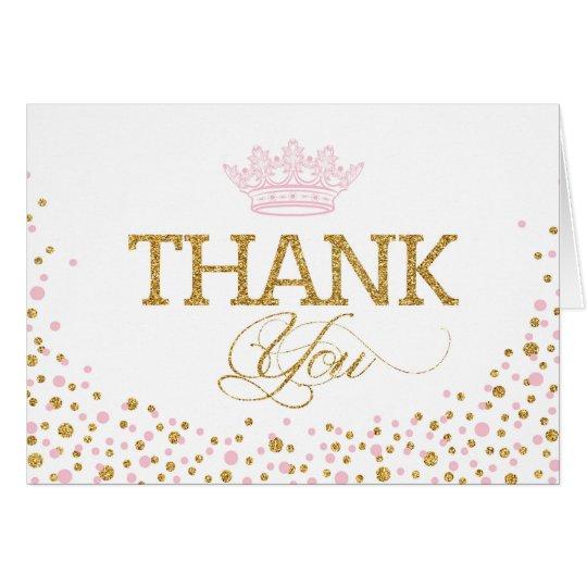 Glitter-Rosa besprüht königliche Prinzessin Thank Mitteilungskarte