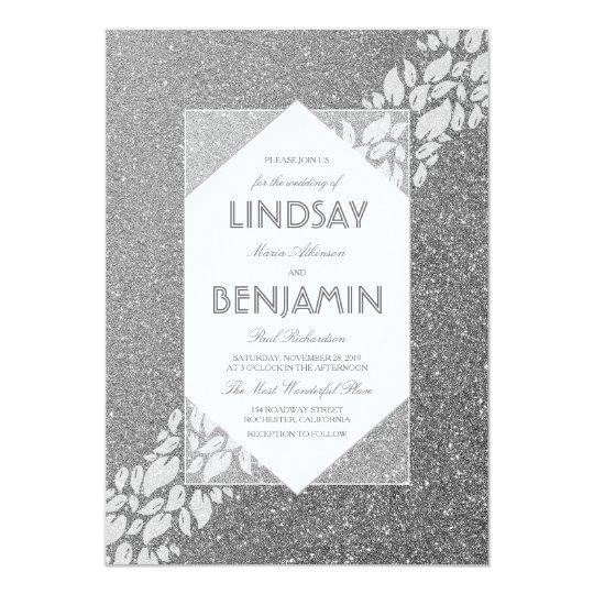 Glitter-silberne elegante Vintage Fab Hochzeit 12,7 X 17,8 Cm Einladungskarte
