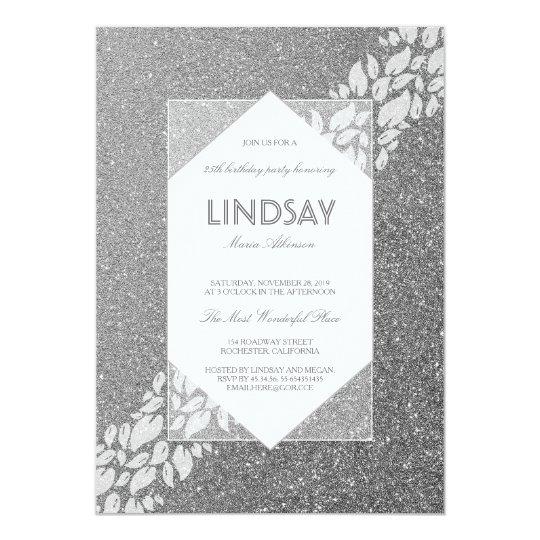 Glitter-silbernes elegantes Vintages 12,7 X 17,8 Cm Einladungskarte
