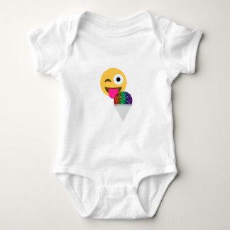 Glitter Wink emoji Baby Strampler