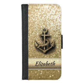 Glittery Ankermonogramm des eleganten niedlichen iPhone 8/7 Geldbeutel-Hülle