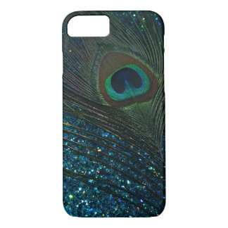 Glittery Aqua-Pfau iPhone 7 Hülle