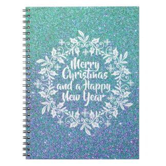 Glittery Notizbuch der frohen Weihnacht-| Spiral Notizblock