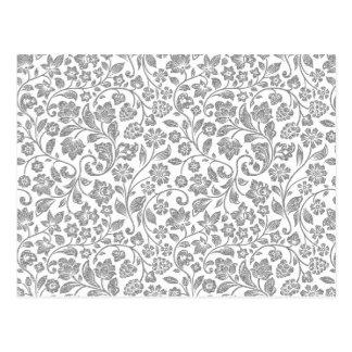 Glittery silbernes Blumen auf Weiß Postkarten