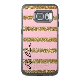 Glitz-Gold und rosa Otterbox Samsung S6 Rand-Fall