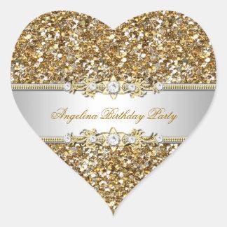 Glitzer-Geburtstags-Party-Goldjuwel-Diamant Herz-Aufkleber