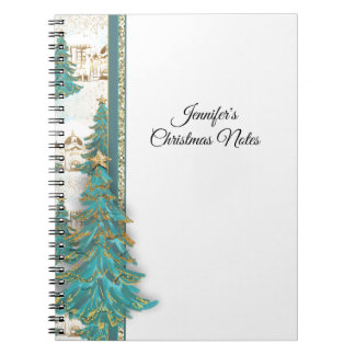Glitzer-Gold und grüne Grenze mit Weihnachtsbäumen Spiral Notizblock
