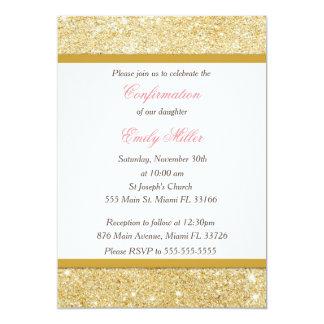 Glitzer-Goldrosa-Mädchen-Bestätigungs-Einladung Karte