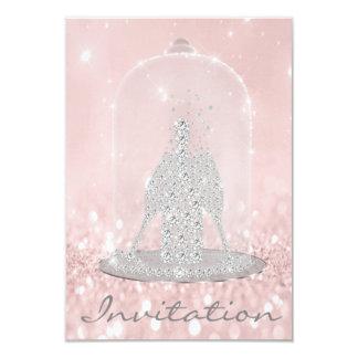 Glitzer-graue rosa Diamant-Glas-Blasen Champagne Karte