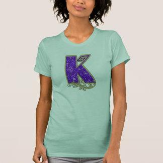 Glitzer-Monogramm lila K T-Shirt
