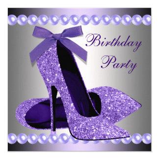 Glitzer perlt lila hohen Heels-Schuh-Geburtstag Karte